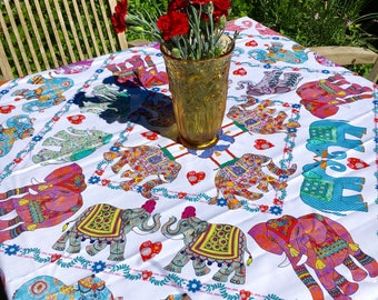 Elephant tablecloth Cotton tablecloth printed tablecloth Designer Bohemian table linen by MollyMac - Contemporary design for dinner parties