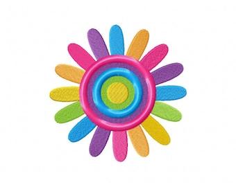 Rainbow flower daisy embroidery design