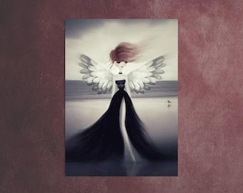 Angel Art, Angel ACEO, Angel Gift, Mini Art, Mini PRINTS, ATC, Angel Lovers, Dolls House Art, Artist Trading Card, Tiny Art, Angel Drawing