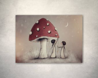 ACEO, Artist Trading Card, Toadstool, Illustration, Little Drawings, Stocking Stuffers, Mini Art, 2.5 x 3.5 Art, Dolls House Art, Tiny Art