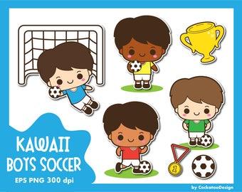 30% OFF, Soccer clip art, football clipart, kawaii soccer clipart, kids football clipart, sport clipart, boys sport clipart, Commercial Use