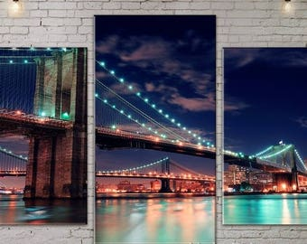 Skyline , Art Print on Canvas, Large Print Wall Art , River,Night City, Bridge, Canvas Art, Interior Art, Living Room Decor, Extra Large Art