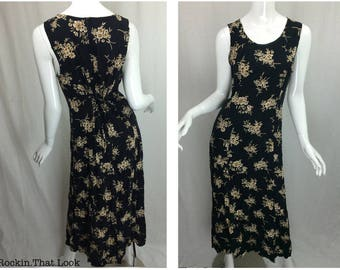 Grunge Floral 90's Long Floral Dress by SHARADE of California Size 10 with Adjustable Tie Back and Zipper