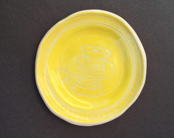 Sewing Thread Dessert Plate- illustrated pottery, handmade porcelain ceramic dish, hand built pottery, sewing notions, fruit plate, yellow