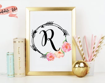 Arrows and Flowers Custom Initial Download File for Printing, Watercolor Flowers, Nursery Decor, Little Girl Bedroom, Wall Decor