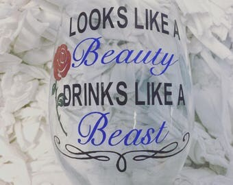 Look like a beauty drinks like a beast stemless wine glass // Beauty and Beast wine glass //