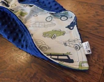 Retro Rides Navy Blue Minky Blanket- Baby boy, stroller blanket, nursing cover, crib, truck, car, motorcycle, old cars, classic vintage cars