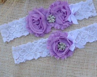 Purple Flower Garter, Purple Bridal Set,Toss Garter, Crystal Bridal Gift, Lavender Garter Set, Wedding, Violet Garter Set, Flower Garter Set