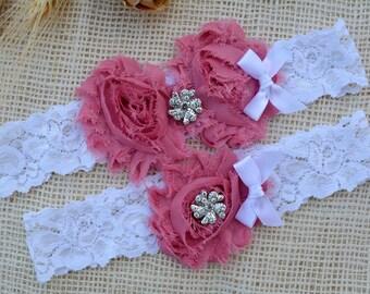 Dusty Pink Wedding, Pink Garter Belt, Dusty Pink Bridal, Garter Set, Disty Pink White, Lace Garter, White Gift, Keepsake Garter, Toss Garter
