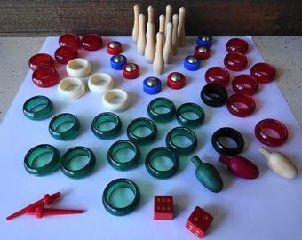 Vintage Carrom Game Pieces 55 total parts   Complete ??