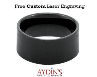 Tungsten Wedding Band Ring   Black Tungsten Ring   Mens Wedding Band   Brushed   Pipe Cut Band 12mm Tungsten Wedding Ring