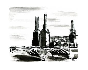 Battersea Power Station / London Art Print / Illustration, Giclée Print, Print, Wall decor, Signed art, Wall art, Poster, Painting