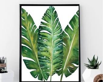 Watercolor Tropical Leaves Print // Minimalist // Wall Art // Typography // Fashion // Scandinavian // Boho // Modern Office // Gift