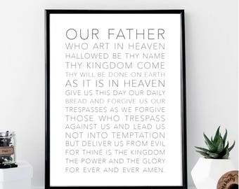 The Lord's Prayer White Print // Minimalist // Wall // Typography // Scripture // Scandinavian // Boho // Office // Gift // Home