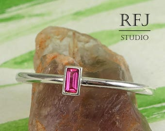 Synthetic Ruby Baguette Cut Silver Ring, July Birthstone Gemstone 3x1.5 mm Pink Lab Ruby Classic Ring Sterling Silver Promise Ruby Ring