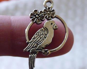 Parrot Charm, Animal Charm, Bird Charms, Cute Bird Pendant, Silver Tone Charm, Metal Charm, 2 Side Necklace Pendant Charm for Bracelet