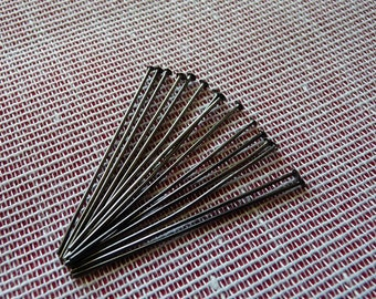 "40mm Head Pins, Black Flat Head Pins, 1.6"" Gunmetal Black Flat Head Pins, Pins for Beading, Pins for Earrings, Beading Supplies"