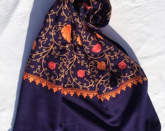 Embroidery Warm Shawl In Blue/Wrap Wt Floral Hand Work/Blanket Wrap/Summer Shawl/Must Have Wrap/Jazzy Scarf /Oversized Shawl/Reasonable Gift