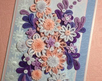 Quilling Card. Greeting Cards Handmade. Birthday Card. Quilled Card. Paper Flowers. Unique Handmade Card. Quilled Flowers. Thank You Cards