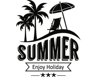 Summer Logo 4 Beach Nature Sun Surf Paradise Tropical Island Palm Tree