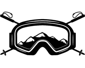Snow Skiing Logo #5 Equipment Snowboarding Mask Skier Ski Winter Extreme Sport.SVG .EPS .PNG Clipart Vector Cricut Cut Cutting Download File