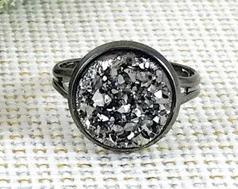 Gunmetal Druzy Ring - Druzy - Adjustable Ring - Statement Ring - Gunmetal Jewelry - Druzy Jewelry - Gunmetal Ring - Faux Druzy Ring - Drusy