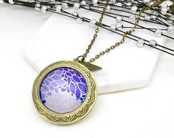 Locket. Antique Bronze Purple and Lavender photo  locket Gift for her Valentine Memories