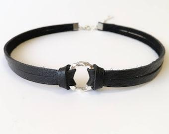 leather choker, leather necklace, black choker,  choker, gothic choker
