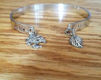 Handstamped Anxiety Bracelet  in Silver - Serenity - Depression Bracelet. Yoga bracelet. Inhale & Exhale.