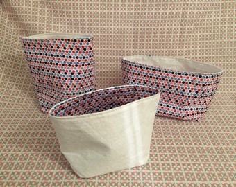 Set of 3 baskets fabric lining and white polka dots pattern