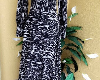 Made in turkish Abaya Long Maxi leopard print Arched Dress