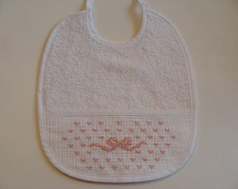 Embroidered bow stitch counted white cotton Terry 0/3 months baby bib