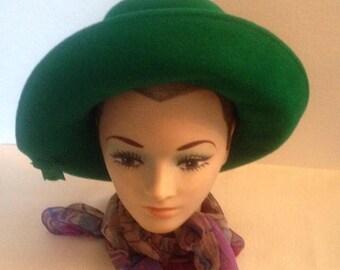 On Sale Vintage Vibrant Green Hat by Jacki