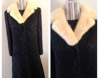 On Sale True Vintage Black Brocade Dress and Matching Coat with Mink Collar