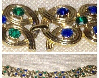 Anniversary Sale Vintage Goldtone Blue/Green Rhinestone Bracelet