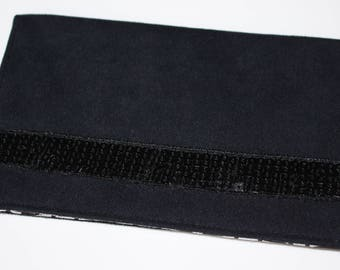 Checkbook suede and black sequined band holder