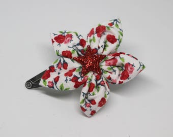 Red flowers hair clip