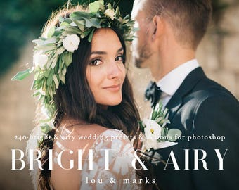 240+ Bright & Airy Wedding Photoshop Kit for Professional Airy Amy and Jordan Style Wedding Editing Results in Photoshop