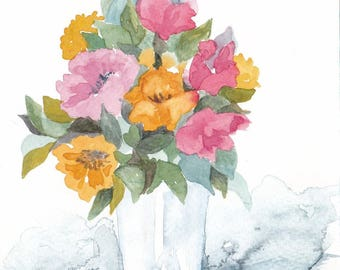 Bouquet of yellow and Red - original watercolor painting