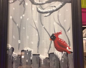 Winters bird with frame