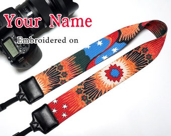 A Custom  Camera Strap  Personalized Camera Strap etnic Embroidered DSLR Sony, Nikon, Canon Accessorie Photography Gift Birthday Gift Boho