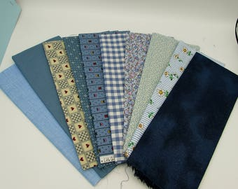 Blue fat quarters, 10 small print and solid blenders in different blue shades & patterns, cotton fabric stash, fabric remnants, craft fabric