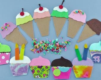 Handmade Felt Ice Cream & Cupcake Felt Board Set,  Pretend Quiet Play Felt Food Toy, Flannel Board Dessert Set