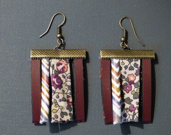 Earrings leather & fabric