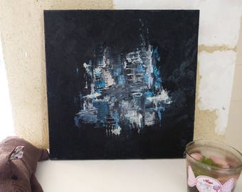 """Cotton abstract 3D painting """"Black and blue myself"""""""