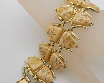 Vintage Coro Wide Confetti Lucite Bracelet