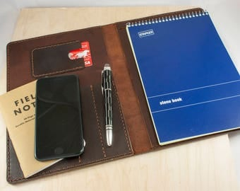 Leather Notepad Cover, FREE SHIPPING, Leather Journal, Notebook Cover, Leather Organizer