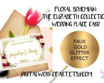 Wedding Place Card Template, Printable Escort Card, DIY Rustic Wedding, Table Card, Reception Card, Editable PDF Template, Floral Boho, #LC