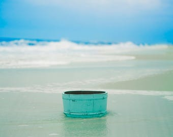 Blue Bucket by the Ocean with Waves for Newborn & Baby Digital Background/Digital Backdrop  with Light Leak