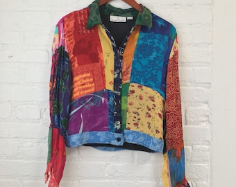 vintage 90's WHIMSICAL PATCHWORK buttonup! sheer rayon / colorful/ floral, text collage/  size M